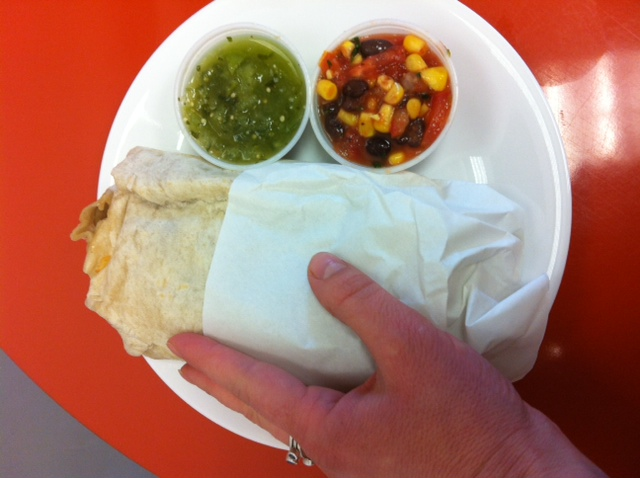 The Recession Buster Burrito from Longboard Louie's is both delicious and cheap!