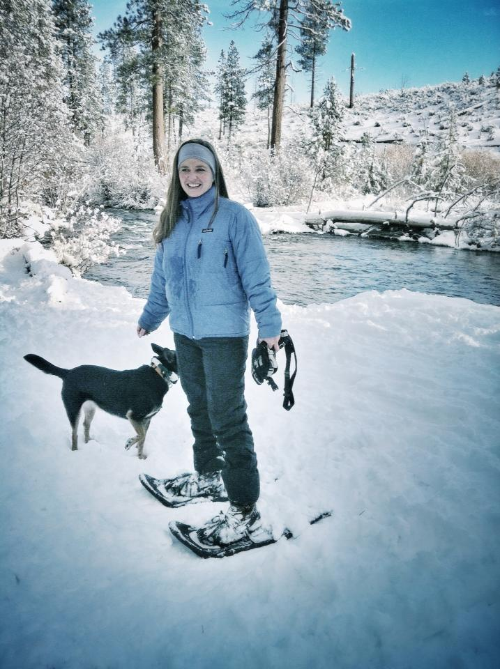 Blogger Tawna snowshoeing in Shevlin Park with dog, Bindi.