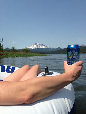 Who says you need a picnic table or blanket when you're out on one of the Cascade lakes?