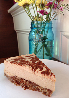 This raw, gluten-free, almost-vegan (minus the honey) cheesecake at Salud! will leave you swooning.