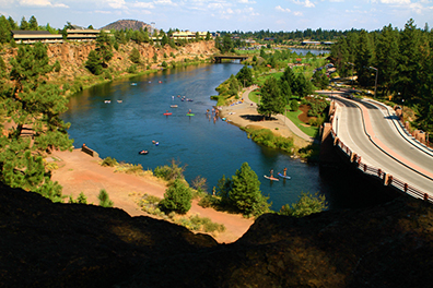 See that sandy beach off the right just below the bridge? That's a great spot to start your float on the Deschutes River.