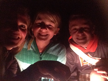 Cave selfie! (Lighting provided by the super cool lantern we rented at the entrance).