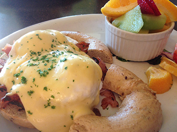The bagel-based eggs benedict at Rockin' Daves is perfect for those who like a hearty foundation.