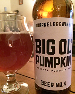 Get your pumpkin on with a big ol' 22 of Big Ol' Pumpkin from 10 Barrel Brewing.