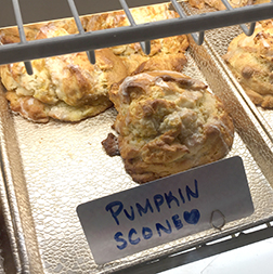Tasty pumpkin scones in the bakery case at Nancy P's.