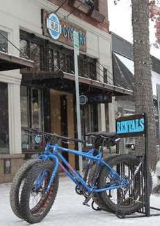 Rent a fat bike from Hub Cyclery and cruise through snowbanks on two weeks.
