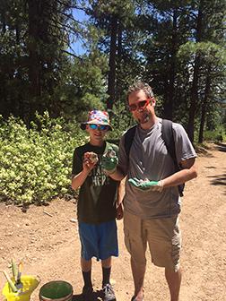 Craig and Cedar show off their thundereggs at White Fir Springs.