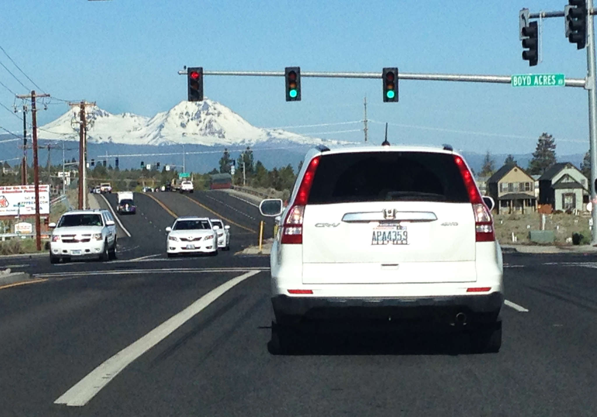 The view from one of the stoplights on the northeast end of Bend. Not too shabby, eh?