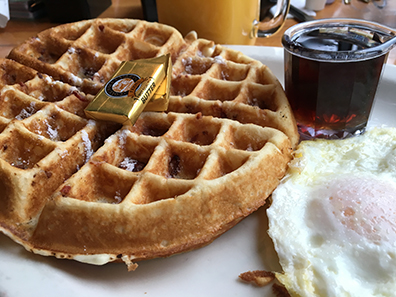 A waffle with bacon cooked into it. Your prayers have been answered.