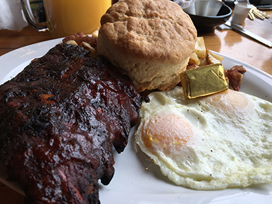 Ribs and eggs and house potatoes and a homemade biscuit and ohmygosh is anyone else drooling? You'll find it at the Baldy's eastside location.