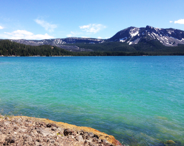 One of many breathtaking sights you'll see while camping at Paulina Lake.