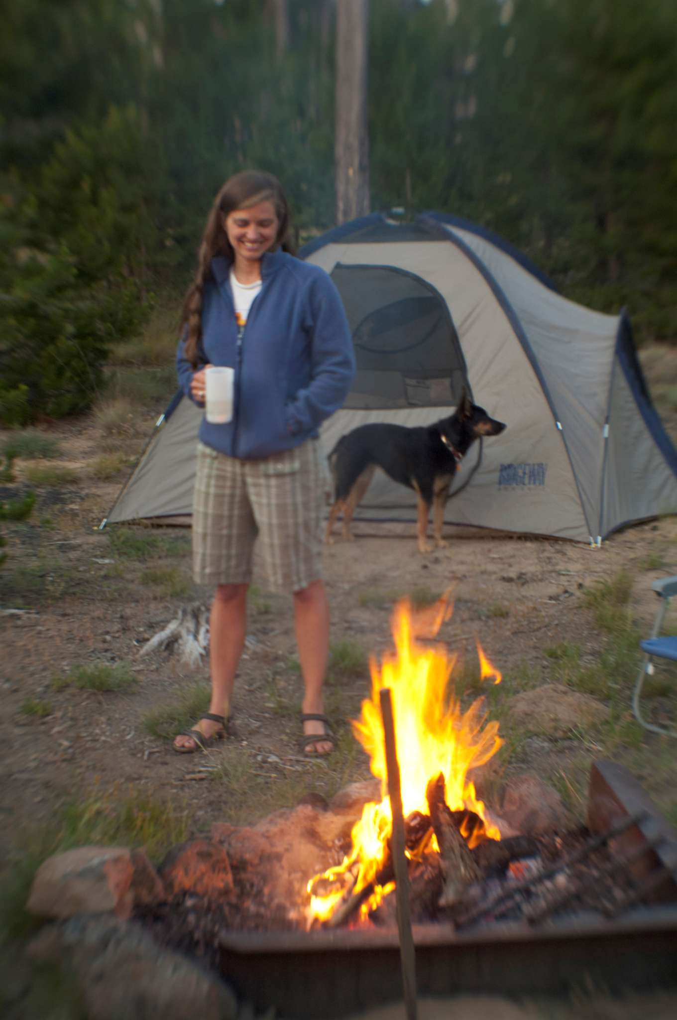 Blogger Tawna hanging around the campsite at Swamp Wells with her dog, Bindi.