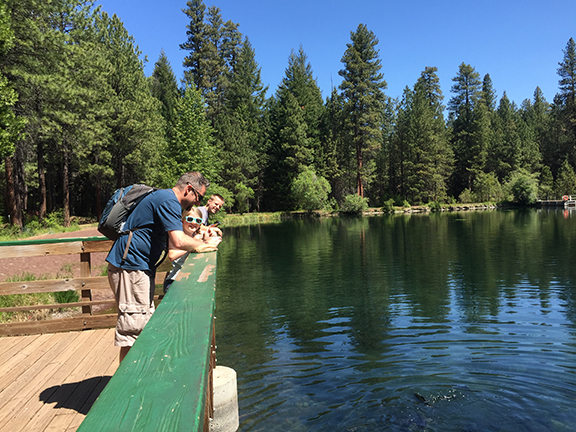 Blogger Tawna's family feeding fish at the Wizard Falls Fish Hatchery.