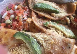 Parmesan-dusted halibut tacos at El Rancho Grande.