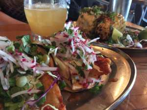Catfish tacos and scrumptious grilled corn at Spork.
