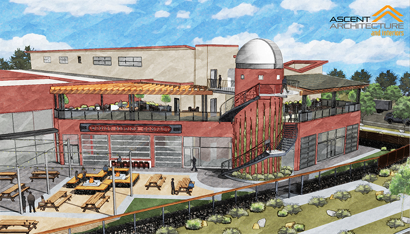 An architect's rendering of the new Hopservatory at Worthy Brewing.