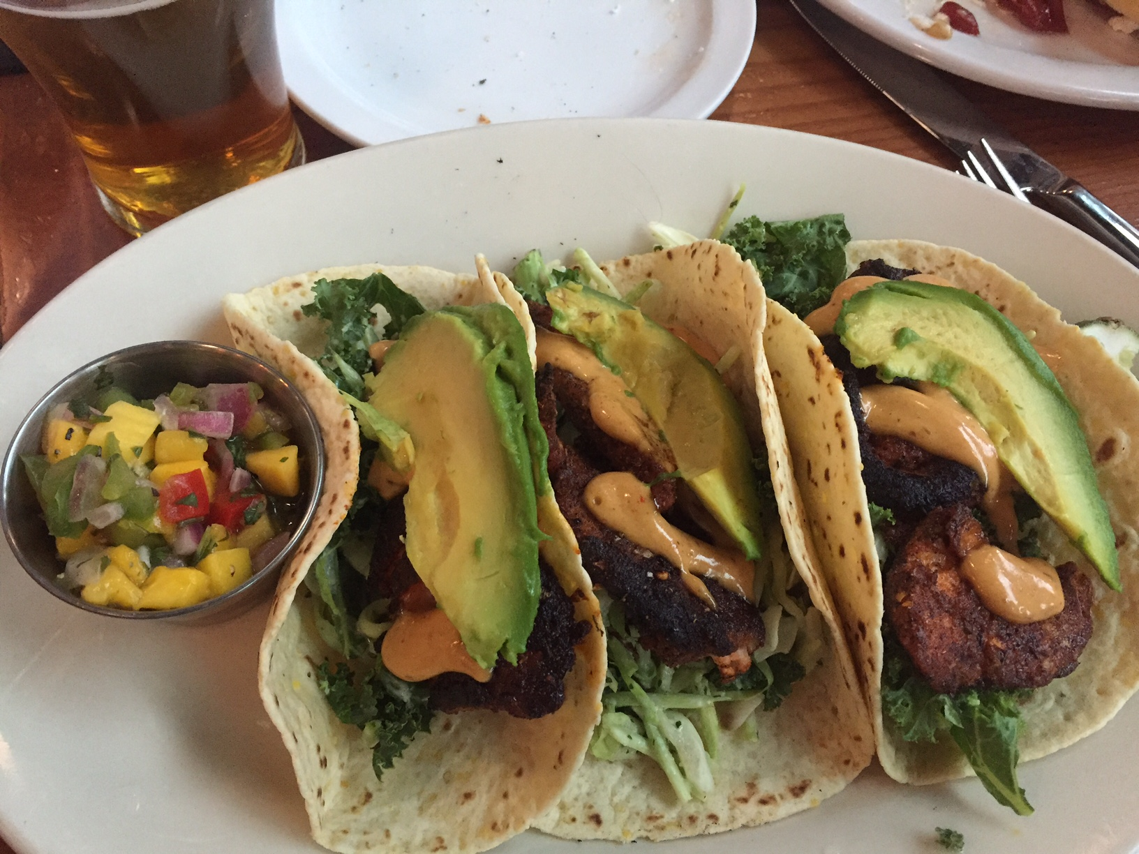 Blackened steelhead tacos at Worthy Brewing.