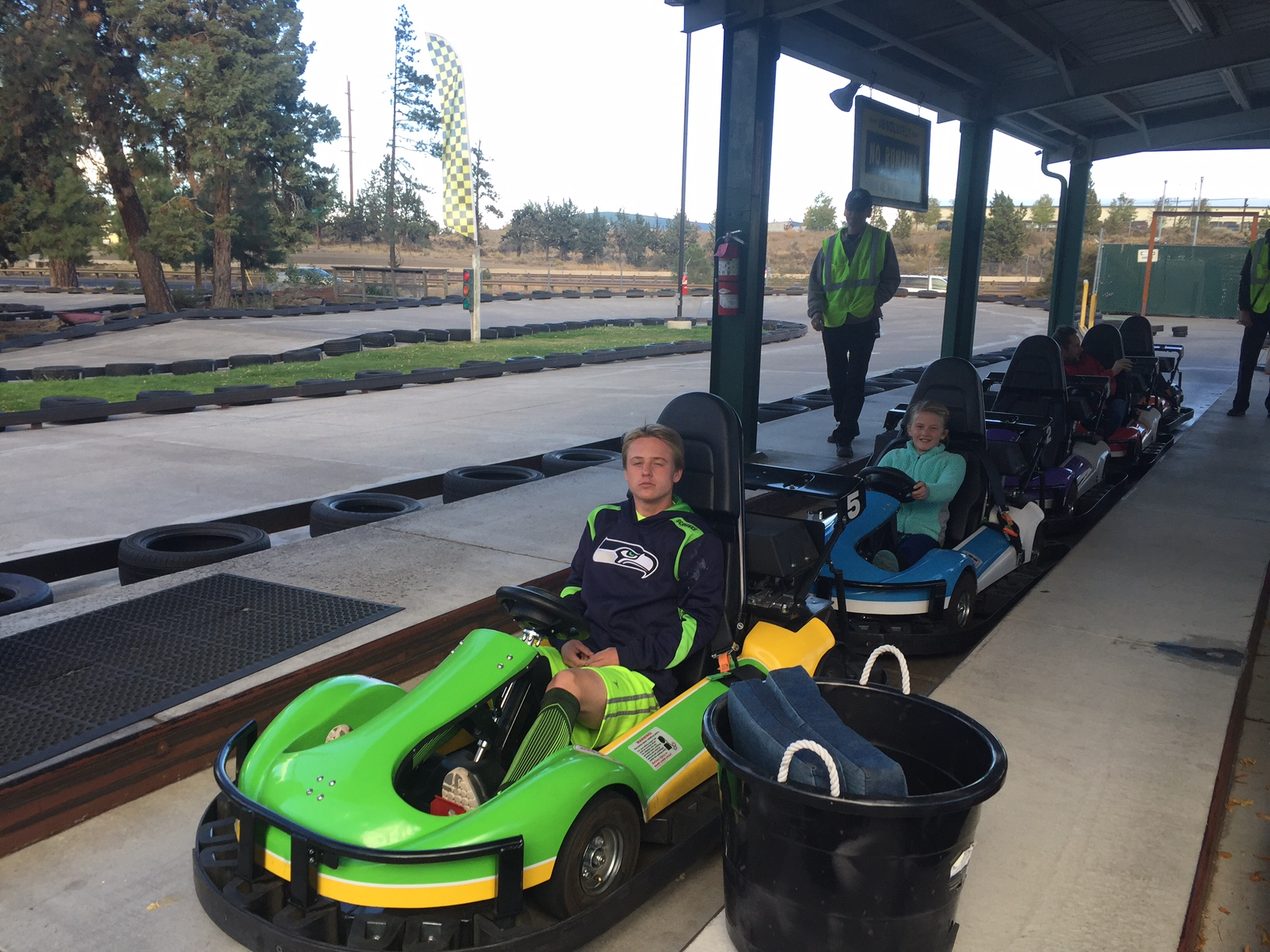 Blogger Tawna's family prepares to cruise in the go karts at Sun Mountain Fun Center.