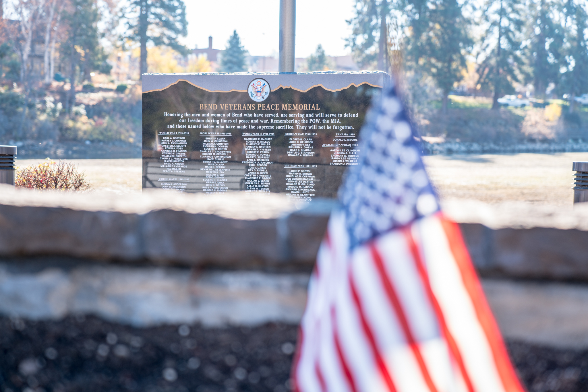 The Bend Heroes Memorial Plaza on the Deschutes River in Bend.