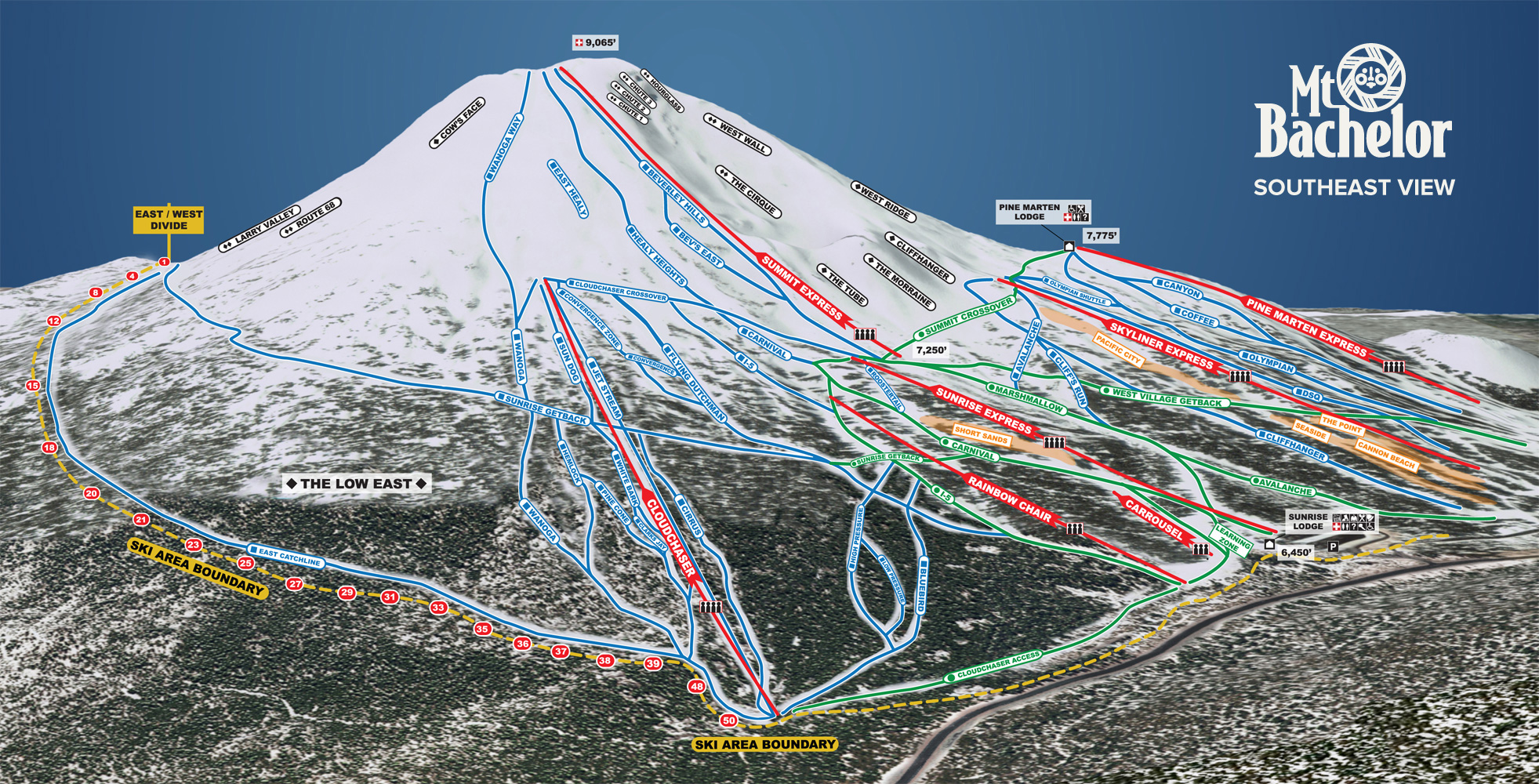 The newly-unveiled trail map for Mt. Bachelor.