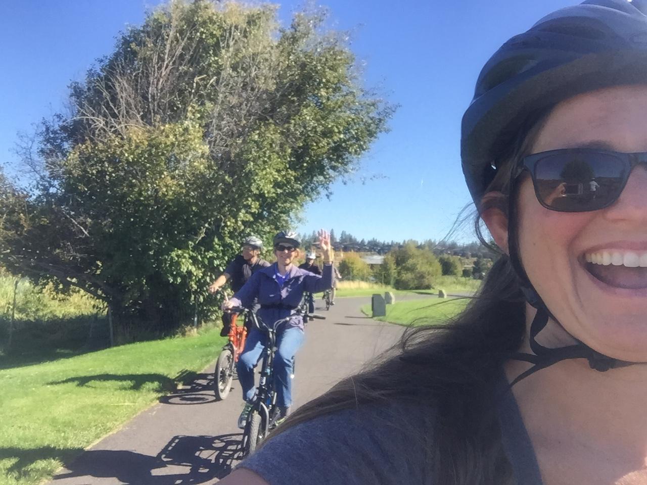 Riding an electric bike in Bend, Oregon.