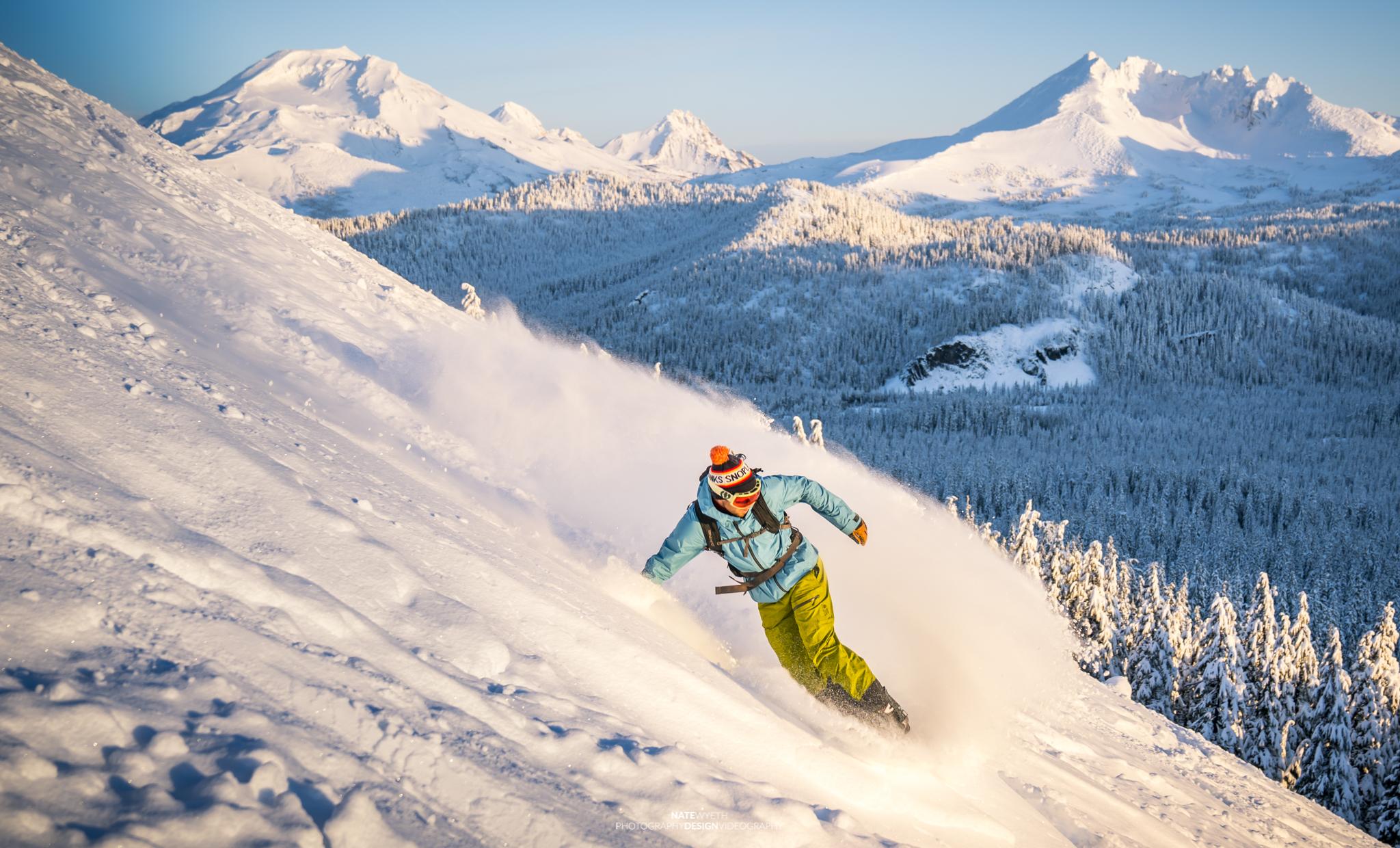 Snowboarding at Mt. Bachelor in Bend, Oregon.