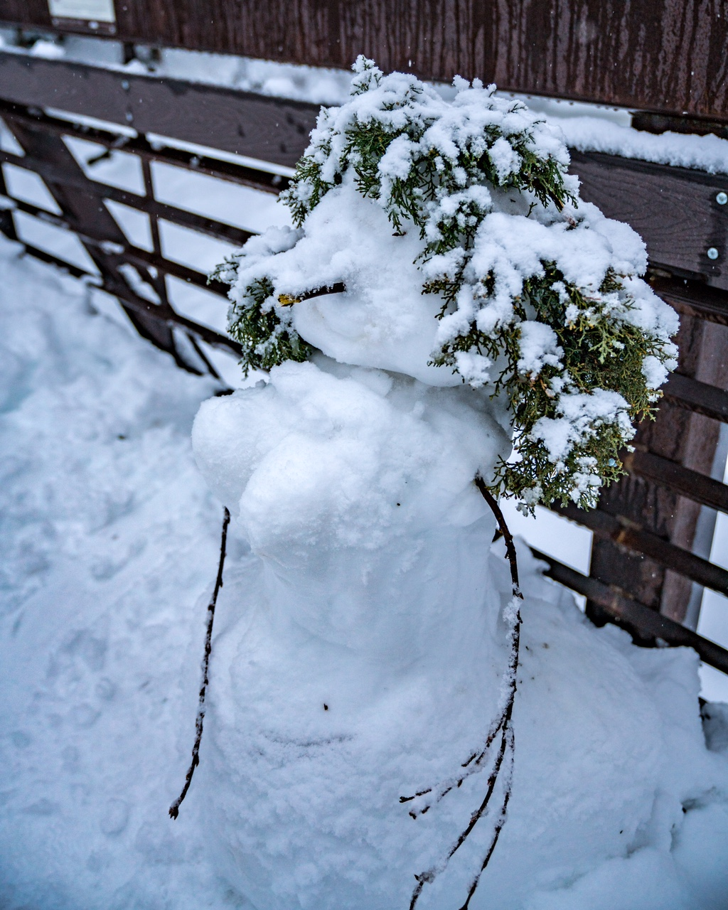 A humorous snowman in Bend, Oregon