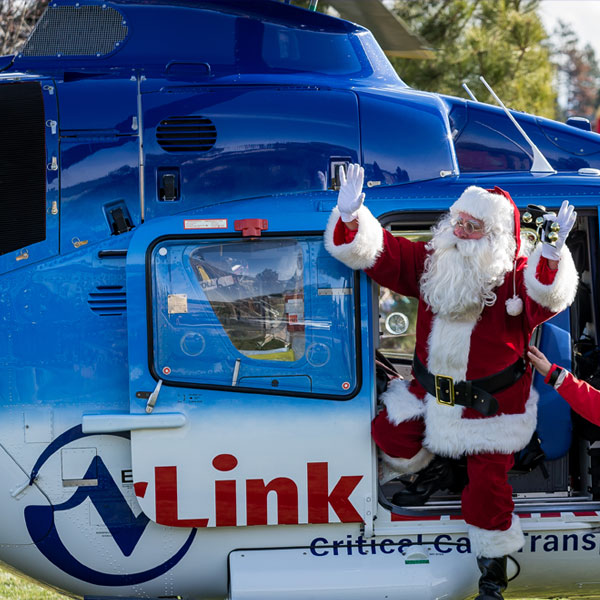 Santa helicopter arrival at the Old Mill District