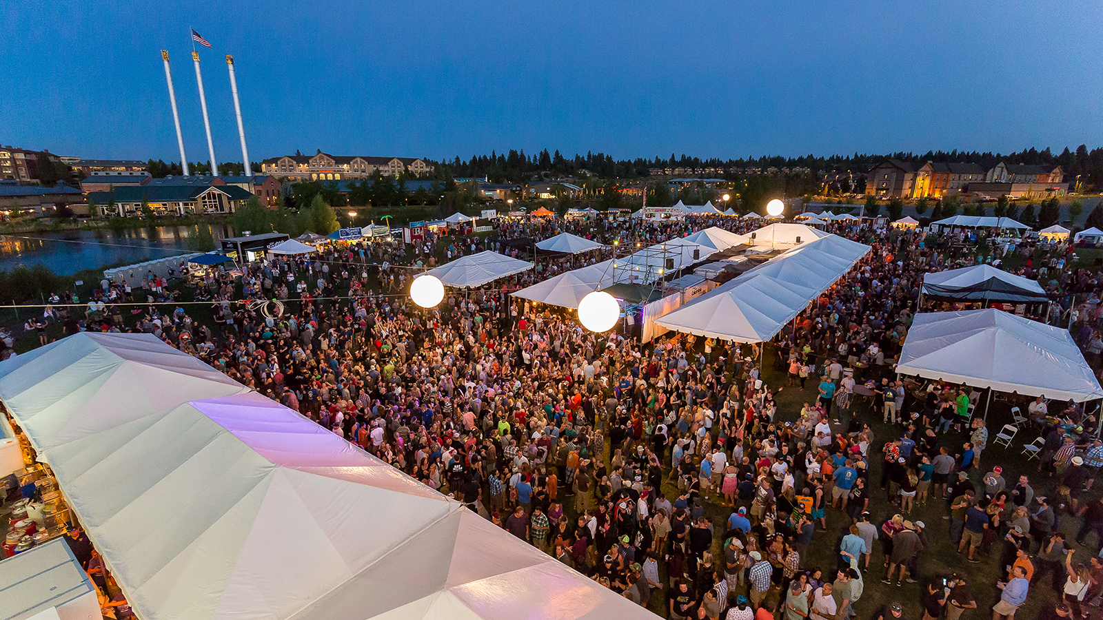 aerial view of Bend Brewfest at the Old Mill District
