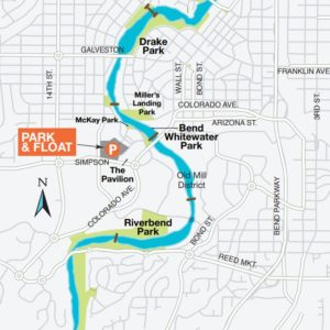 Bend Park and Rec's Ride the River Shuttle Map