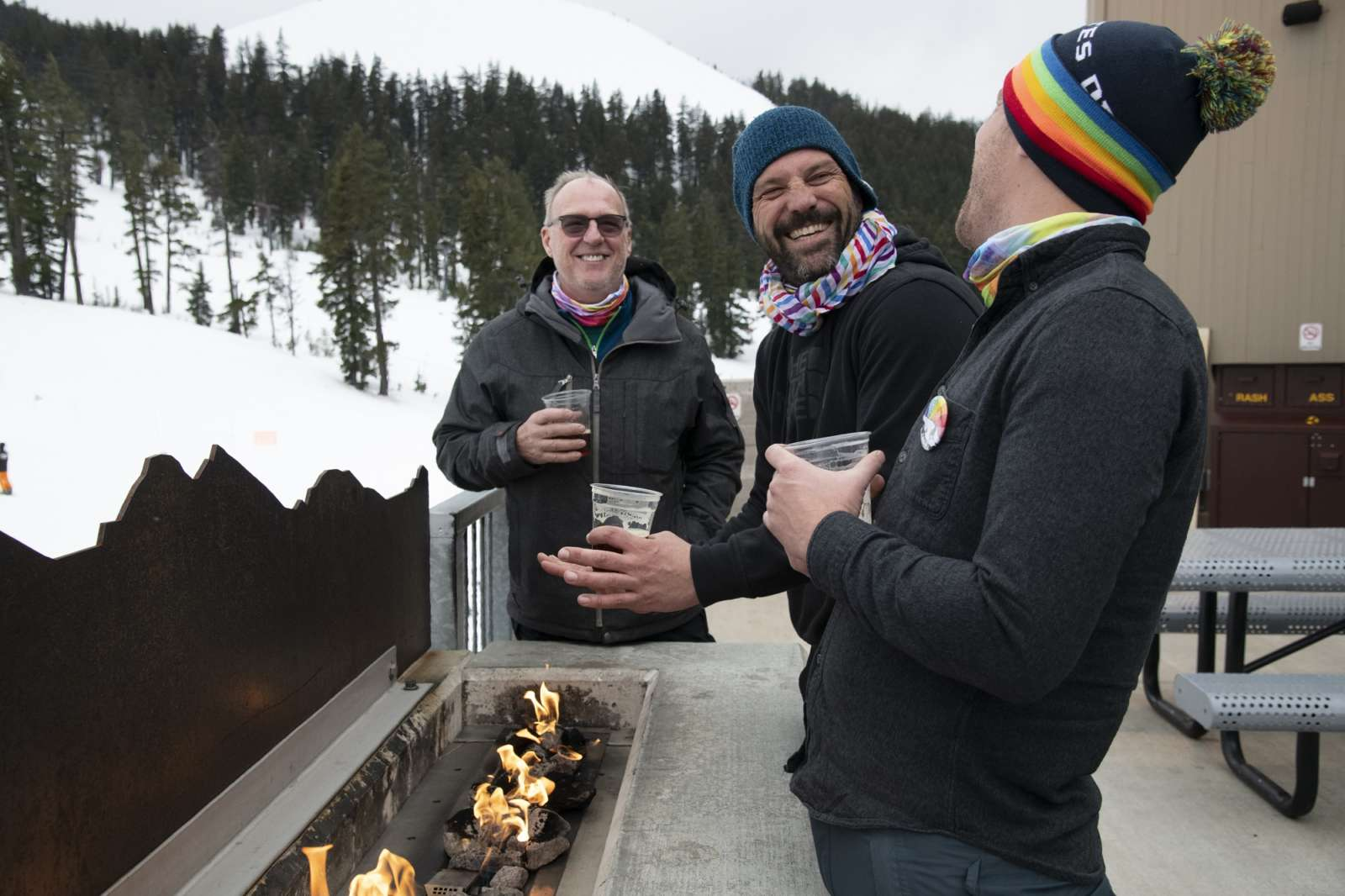 Mt. Bachelor skiers with rainbow pride gear for PrideFest