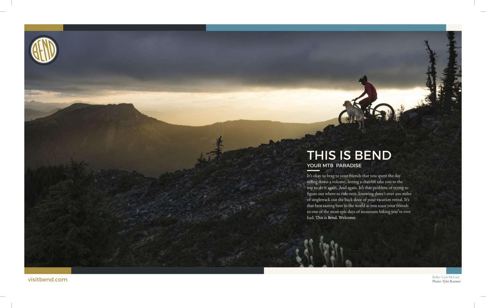 Visit Bend Summer Mountain Biking Print Advertisement