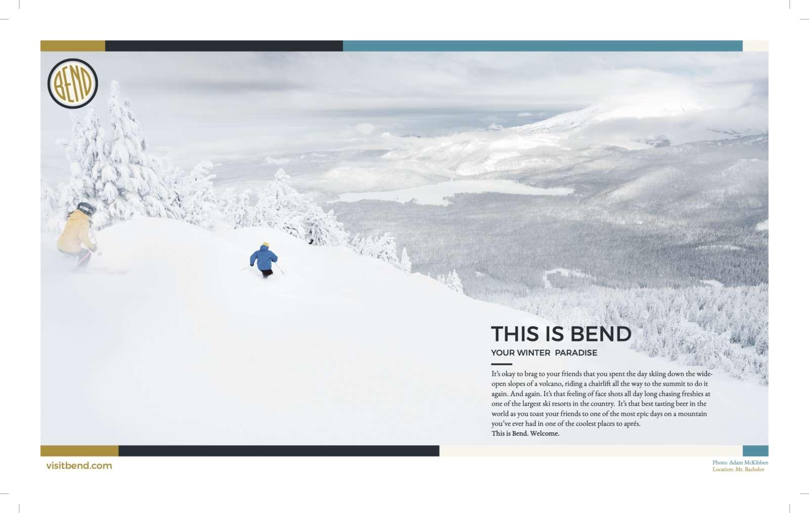 Visit Bend Winter Skiing Print Advertisement